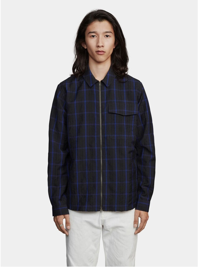 Dark Blue Window Pane Zipshirt