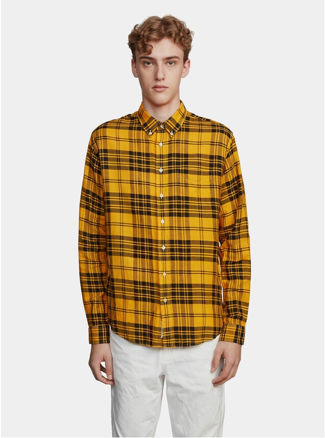Dyed Black / Mandarin Large Check Twill Shirt