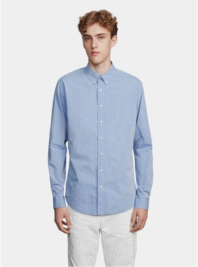 Dyed Blue Poplin Yarn Shirt