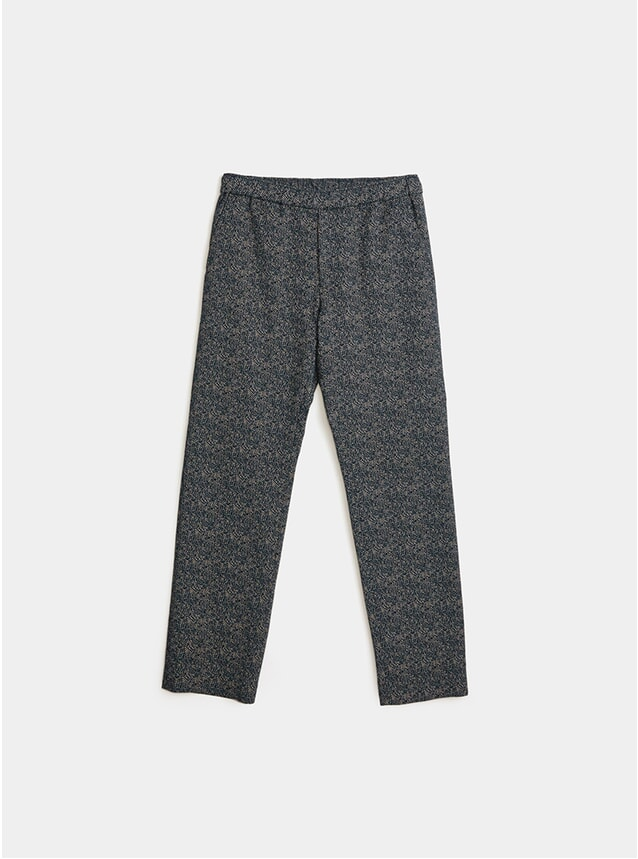 Green Jacquard Melange Trousers