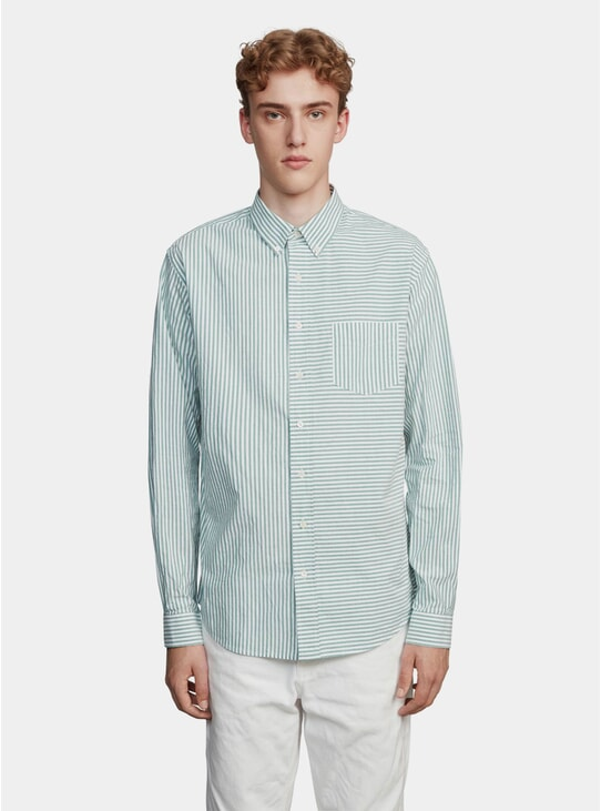 Green / Off White Pencil Stripe Shirt