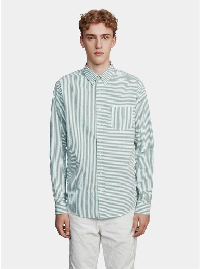 Green / Off White Pencil Stripe Shirt