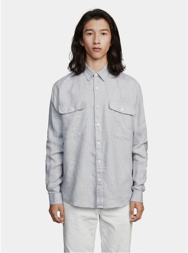 Grey Boxy Linen One Shirt