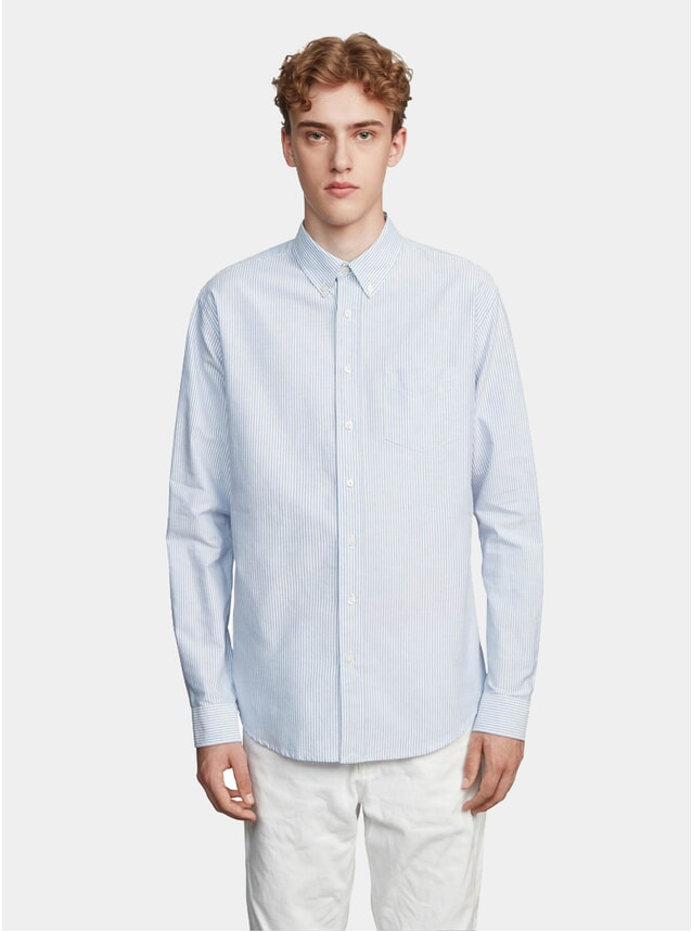 Light Blue / White Regular Stripe Poplin Shirt