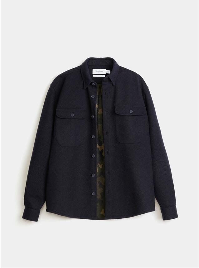 Navy Bonded Twill Boxy Shirt