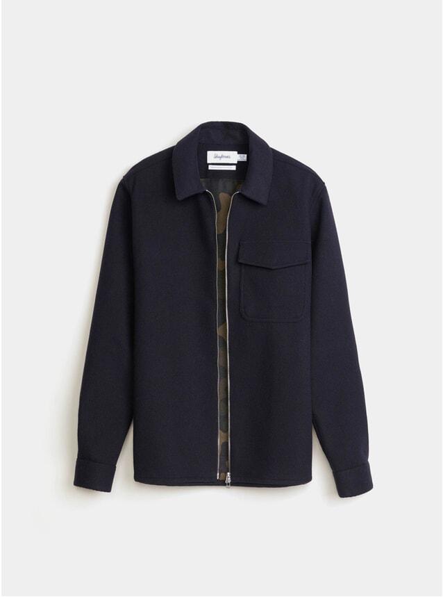 Navy Bonded Twill Zipshirt