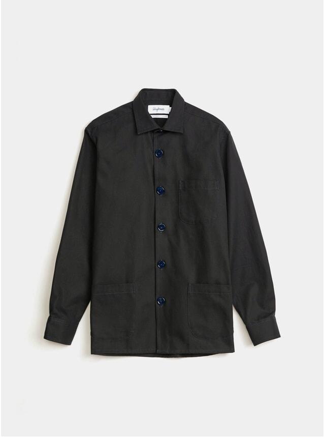 Navy Cotton Twill Overshirt