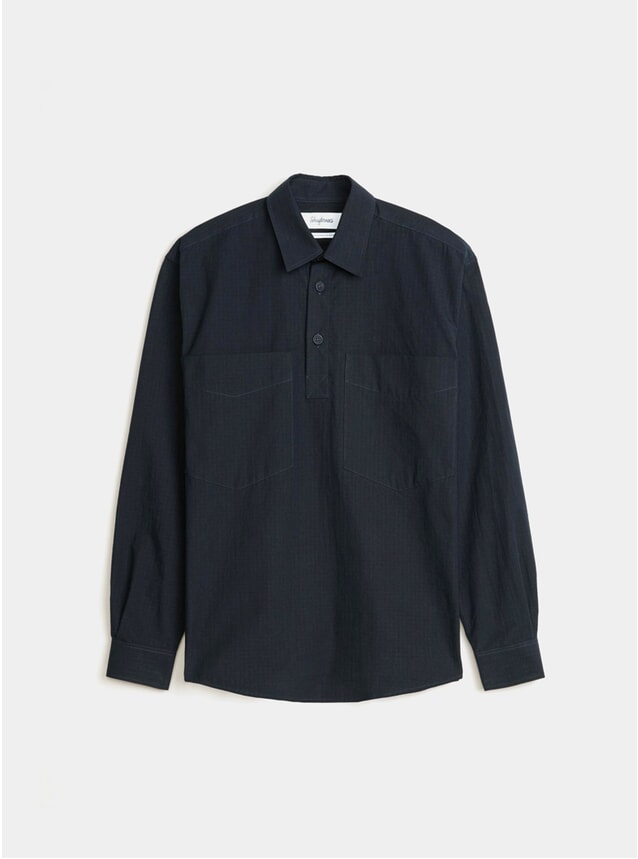 Navy Popover Ripstop Solid Boxy Shirt