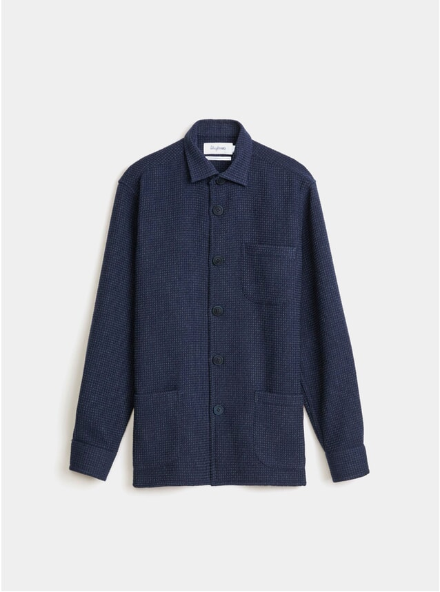 Navy Waffle Wool Overshirt