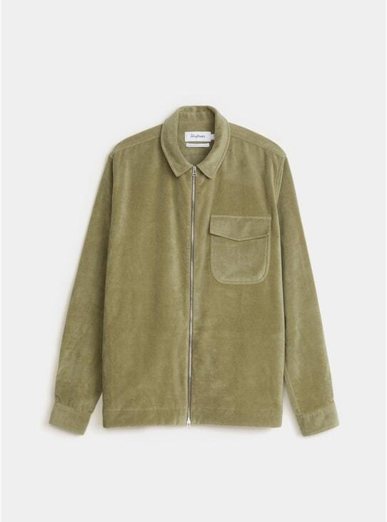 Olive Moleskin Zipshirt