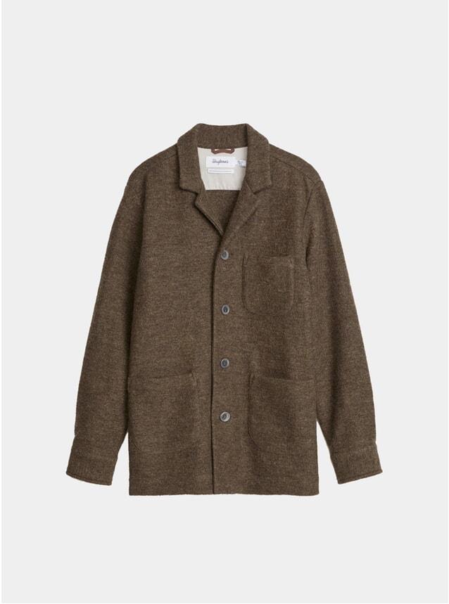 Overshirt Notch Virgin Wool Walnut