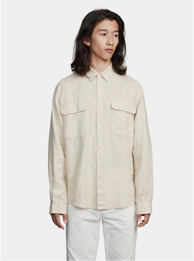Sand Boxy Linen One Shirt