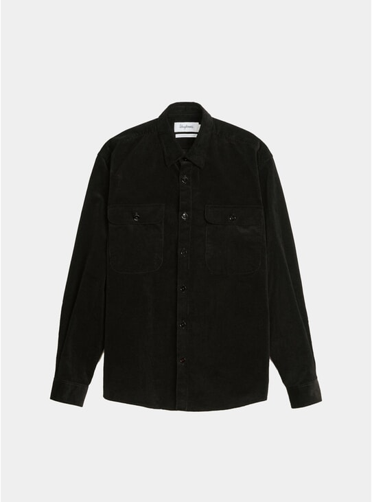 Solid Black Corduroy Boxy Shirt