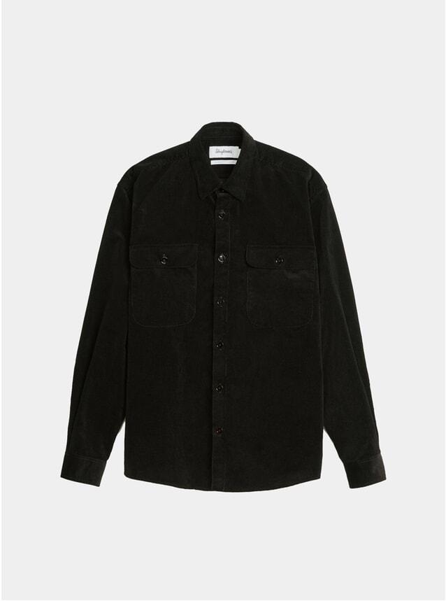 Solid Black Corduroy Boxy Shirt