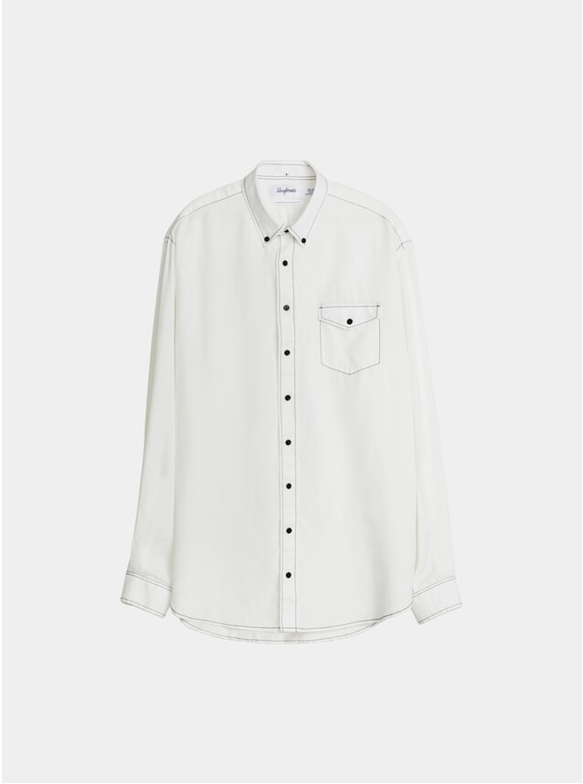 Solid White Oversized Tencel Shirt