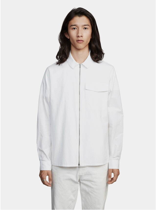 White One Pinpoint Zipshirt