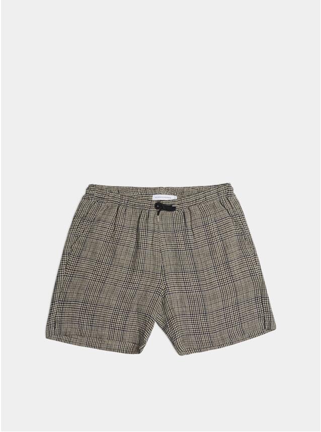 Blue / Beige Linen Check Shorts