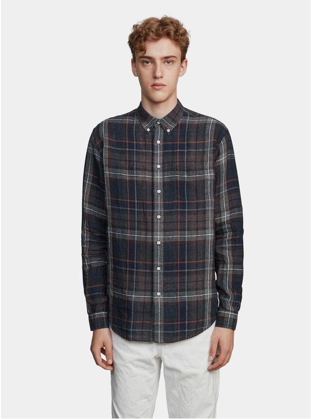 Brown / Blue Indigo Check Linen Shirt