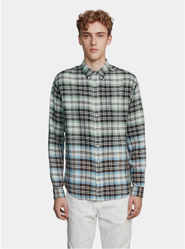 Green / Black Large Check Garment Dyed Shirt