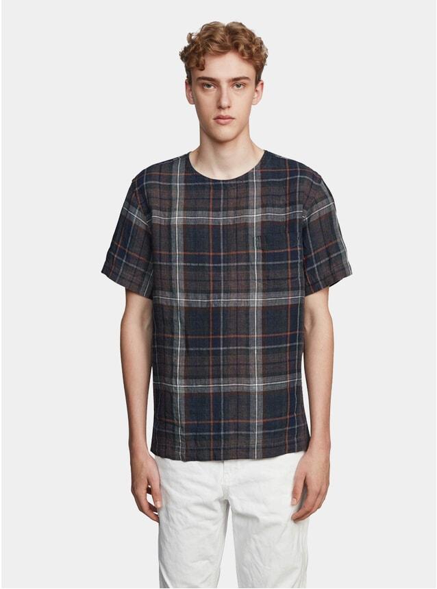 Indigo Check Linen T Shirt