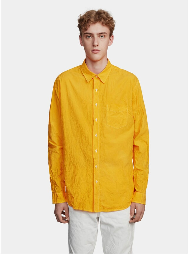Mustard Garment Dyed Unbutton Mandarin Shirt