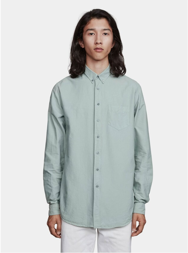 Slate Green Garment Dyed Oxford Shirt