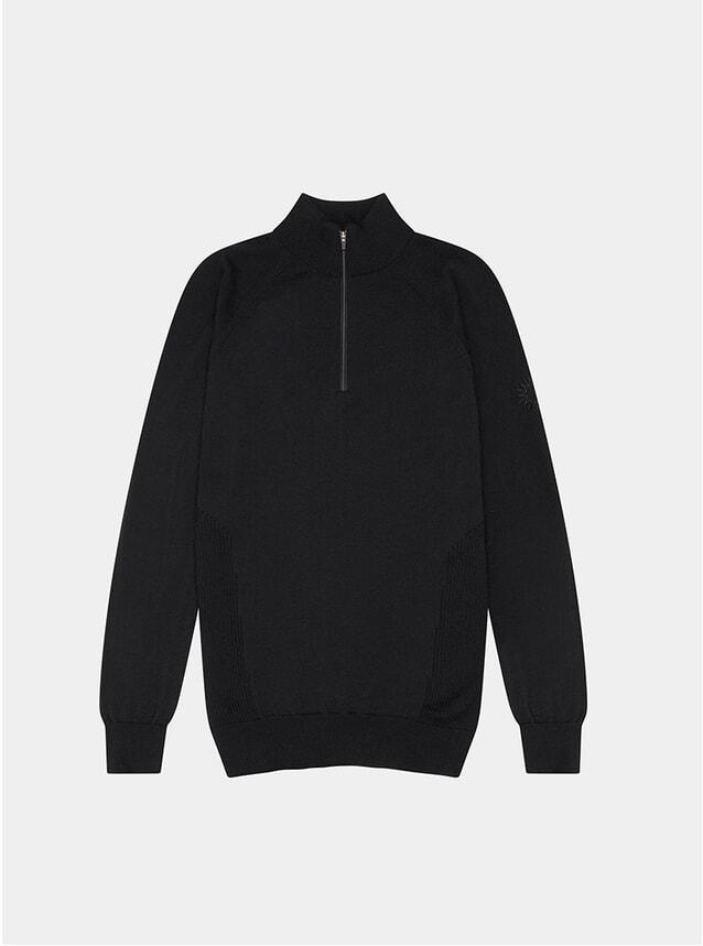 Black Merino Marston Quarter Zip Sweater