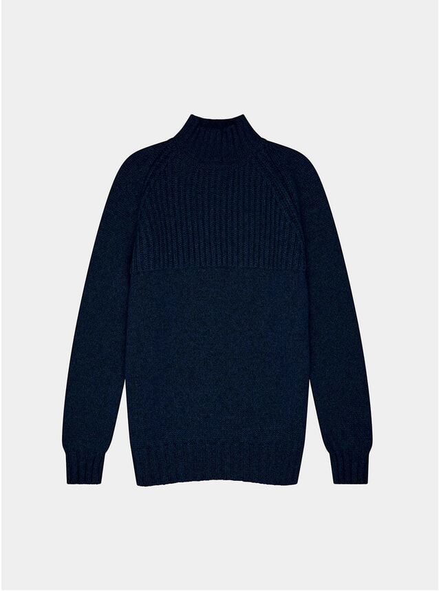 Indigo Blue Nimrod Cashmere Funnel Neck Sweatshirt