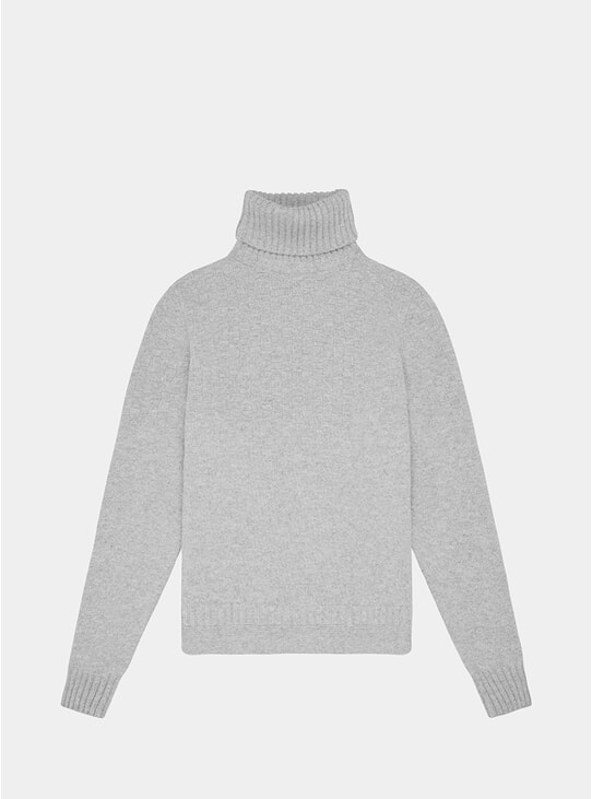 Light Grey Hero Lambswool Roll Neck Sweatshirt