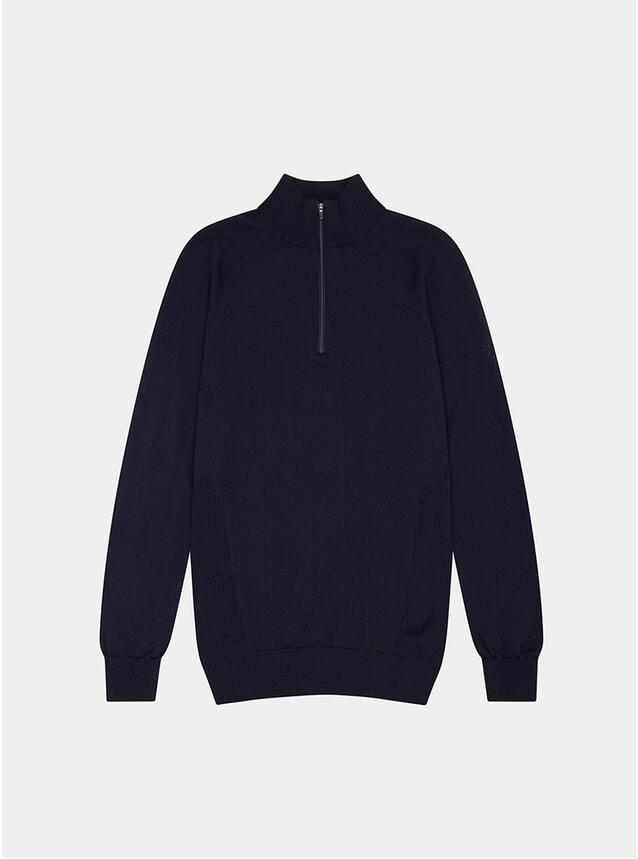 Navy Blue Merino Marston Quarter Zip Sweater