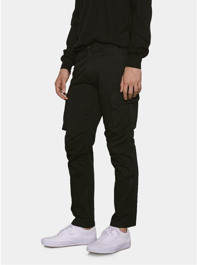 Black Stretch Flannel Cargo Pants
