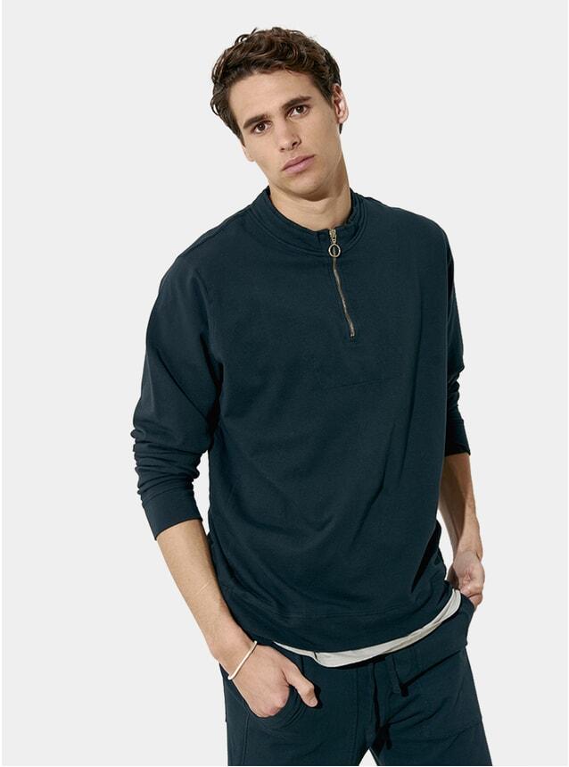 Deep Blue Zipped Cotton Fleece Sweater