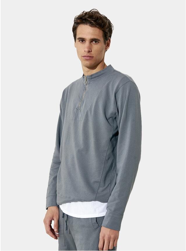 Grey Metal Zipped Cotton Fleece Sweater