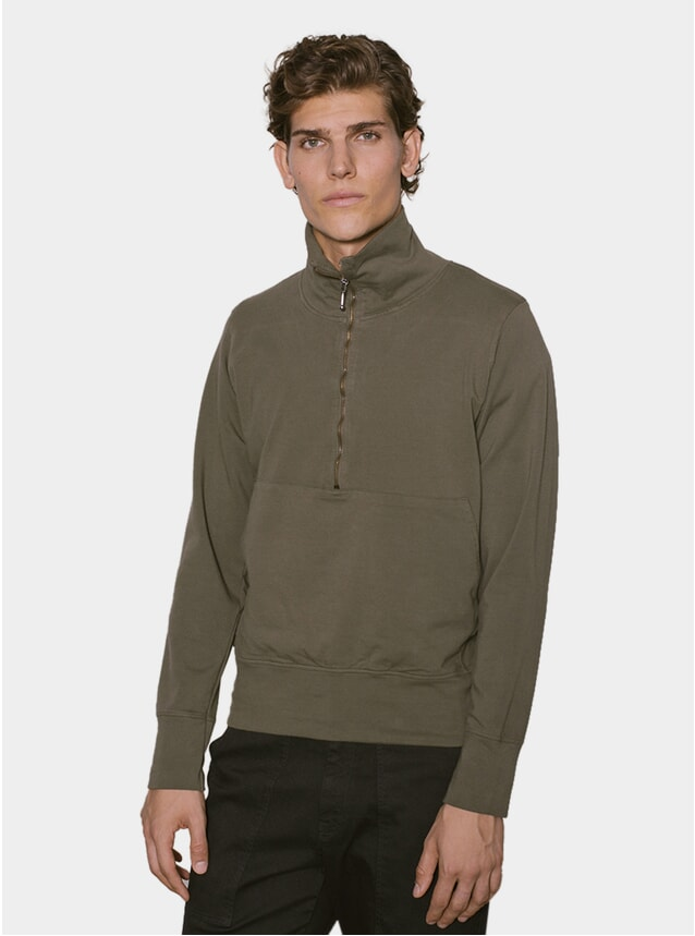 Hunting Green Zipped Neck Sweater