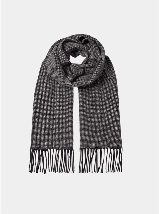 Grey Micro Checked Scarf