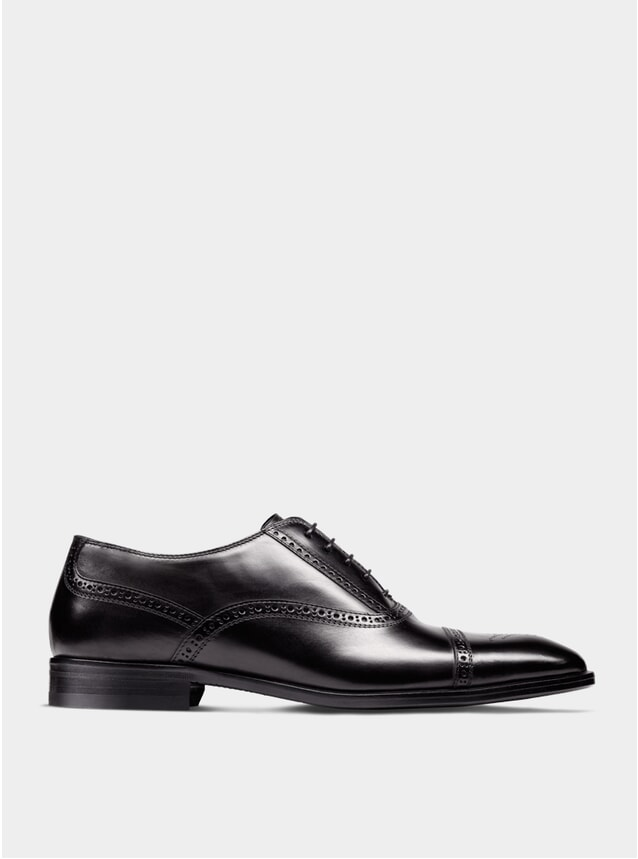 Black The Second Son Semi Brogue Oxford Shoes