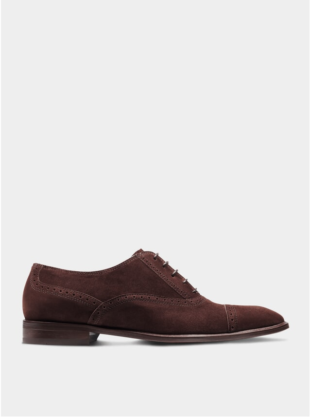 Brown Suede The Second Son Semi Brogue Oxford Shoes
