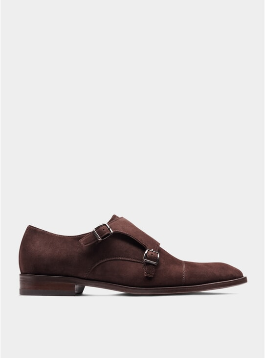 Brown Suede The Third Son Double Monkstrap Shoes