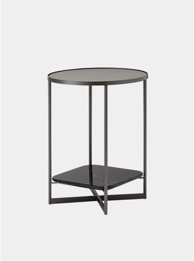 Etched Glass / Black Marble Mohana Side Table