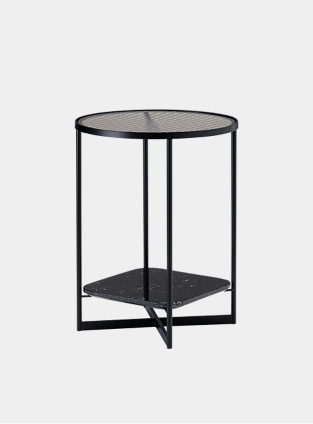 Fluted Glass / Black Marble Mohana Side Table