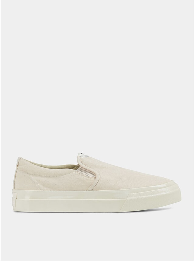 Raw Ecru Lister Canvas Slip-On Sneakers