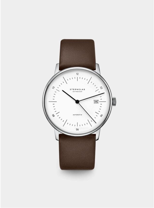 Silver / Premium Dark Brown Naos Automatic Watch