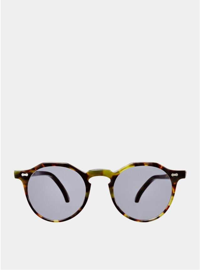 Green Tortoise / Gradient Grey Lapel Sunglasses