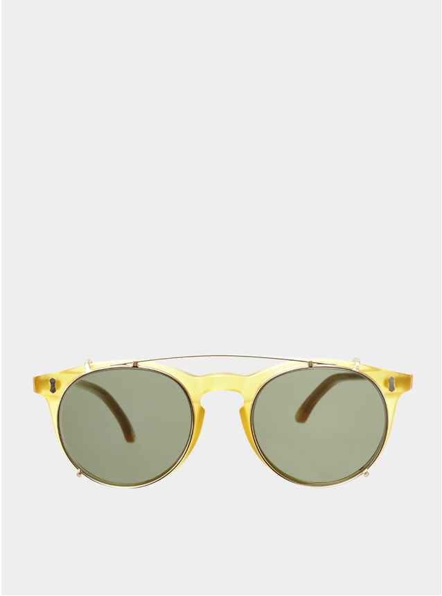 Honey / Bottle Green Clip-On Pleat Sunglasses