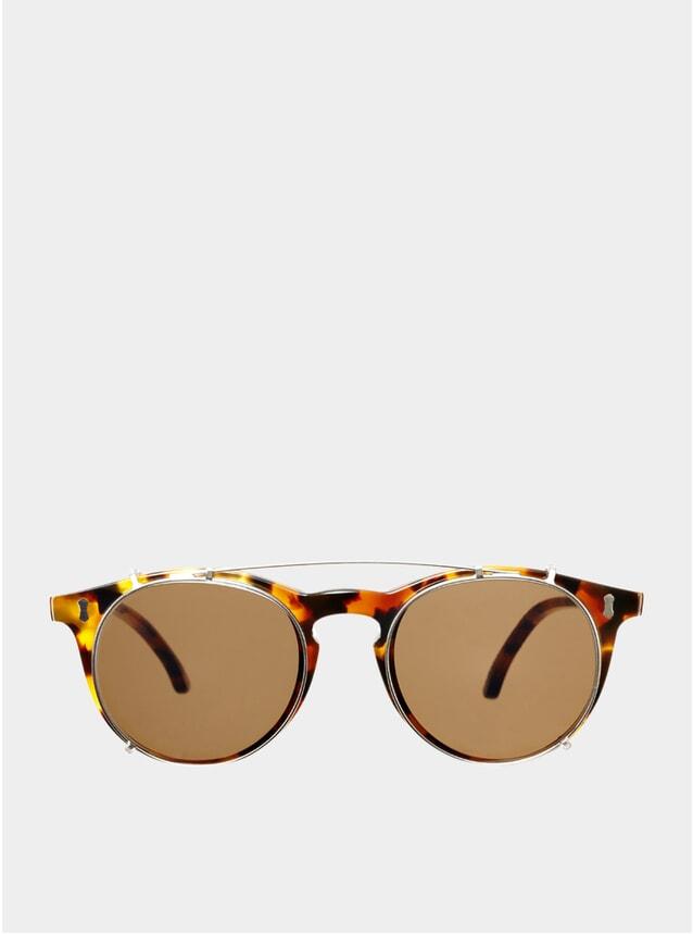 Amber Tortoise / Tobacco Clip-On Pleat Sunglasses