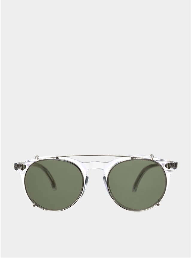 Bottle Green / Pleat Transparent Clip-On Sunglasses