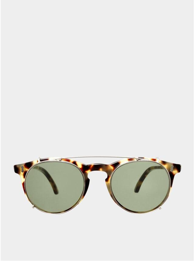 Light Tortoise / Bottle Green Pleat Sunglasses