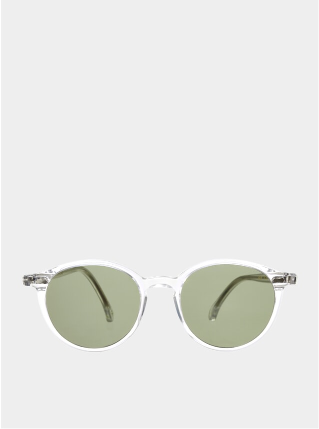 Transparent / Bottle Green Cran Sunglasses