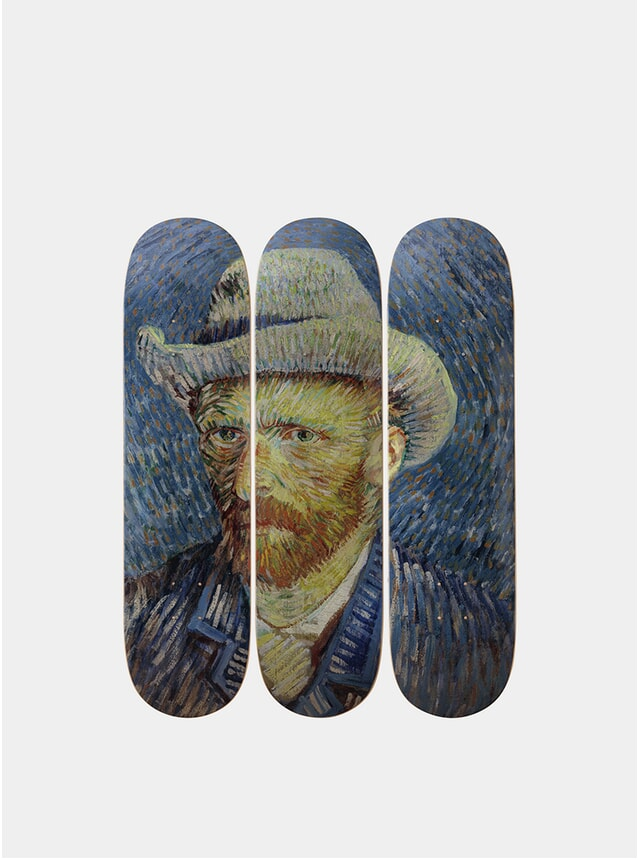 Vincent Van Gogh Self-Portrait with Grey Felt Hat Solo Triptych