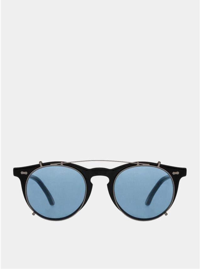 Black / Blue Pleat Sunglasses